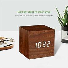 Carré en bois Réveil Thermomètre Numérique LED