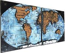 Carte du monde 3D en métal faite à la main pour