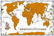 Carte du monde à frotter