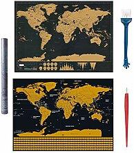 Carte du monde à gratter,2 pièces Carte du monde