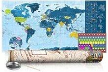 Carte du monde à gratter bleu avec tube de
