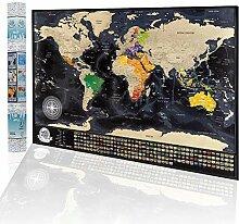 Carte du monde à gratter - Carte de voyage avec