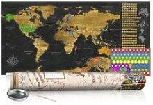 Carte du monde à gratter doré avec tube de