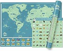 Carte du monde à gratter Edition Monde Sauvage