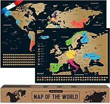 Carte du Monde a Gratter - en Français - Plus