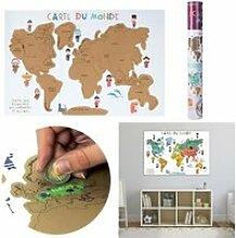 Carte du Monde à Gratter en Français - Poster