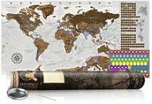 Carte du monde à gratter gris avec tube de