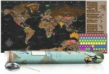 Carte du monde à gratter marron avec tube de