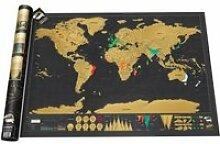 Carte du monde à gratter noire/dorée
