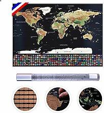 Carte du Monde à Gratter pour Les Voyageurs