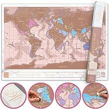 Carte du Monde à Gratter Rose Dorée, Mappemonde