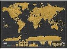 Carte du Monde à Gratter Scratch Map - Noir