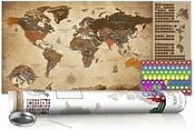 Carte du monde à gratter vintage avec tube de
