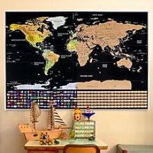 Carte du Monde à Gratter Voyage Affiche (82x59