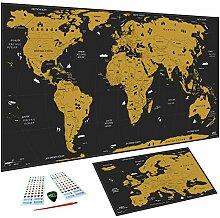 Carte du monde à gratter XXL (82 x 43 cm), Inclus