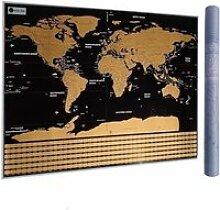 Carte du Monde à gratter XXL avec Drapeaux,