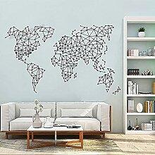 Carte Du Monde Abstrait Polygonal Stickers Muraux