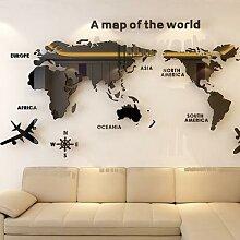Carte du monde acrylique 3D cristal solide, mur de