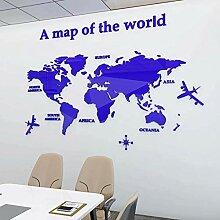 Carte Du Monde Acrylique 3d Stickers Muraux En