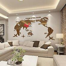 Carte Du Monde Acrylique Autocollants Muraux En