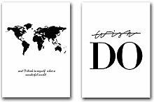 Carte du Monde Affiche Noir et Blanc Toile