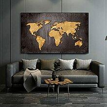 Carte du monde Affiches et impressions Golden Art