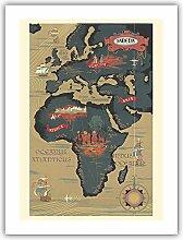 Carte du Monde - Afrique, Europe, Asie - SABENA