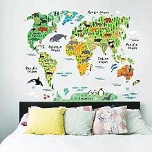Carte du monde animal coloré Stickers muraux