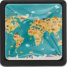Carte du monde animaux Boutons De Meuble Boutons