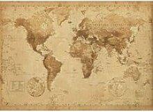 Carte Du Monde - Antique Style - 100x140cm -
