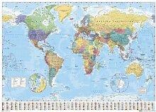 Carte du monde avec drapeaux Poster Grand Format