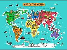 Carte du monde avec monuments et animaux