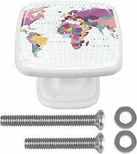 Carte du monde Bouton de Tiroir carrées Armoire