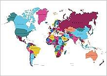 Carte du Monde colorée Nom du Pays Toile Mur Art