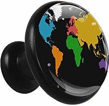 Carte du monde colorée Poignées d'armoire de