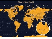 Carte Du Monde Couleur OR - World MAP Gold -