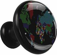 Carte du monde couleur Poignées d'armoire de