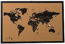 Carte du Monde de Mur - avec 6 Drapeaux marqueurs