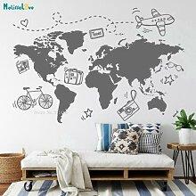 Carte du monde de voyage pour chambre