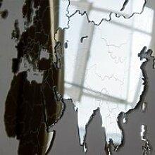 Carte du Monde Déco Murale 130X78cm Miroir
