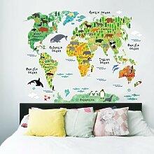 Carte du monde des animaux colorés, autocollants
