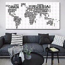 Carte du Monde des Pays par nom Peinture