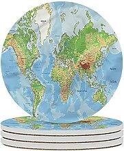 Carte du monde dessous de verre en céramique