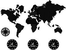 Carte du Monde DIY 3D Grande Horloge Murale New