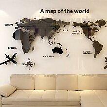 Carte du monde en acrylique 3D, cristal solide,