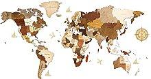 Carte du monde en bois pour décoration murale -