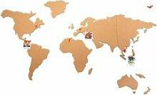 Carte du monde en liège - 102 x 50 cm - Beige