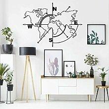 Carte du monde en métal avec boussole -