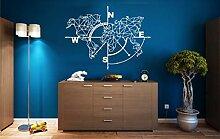 Carte du Monde en métal Boussole Décoration