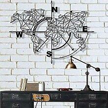 Carte du Monde en métal - Boussole géométrique